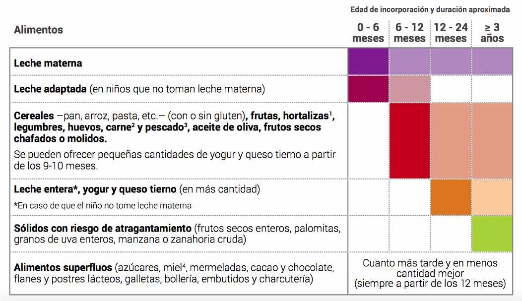 Alimentacion complementaria. Tabla que muestra la edad recomendada para incorporar los diferentes alimentos